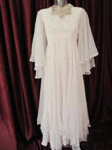 1970's White chiffon 'Angel' vintage wedding gown *ON HOLD*